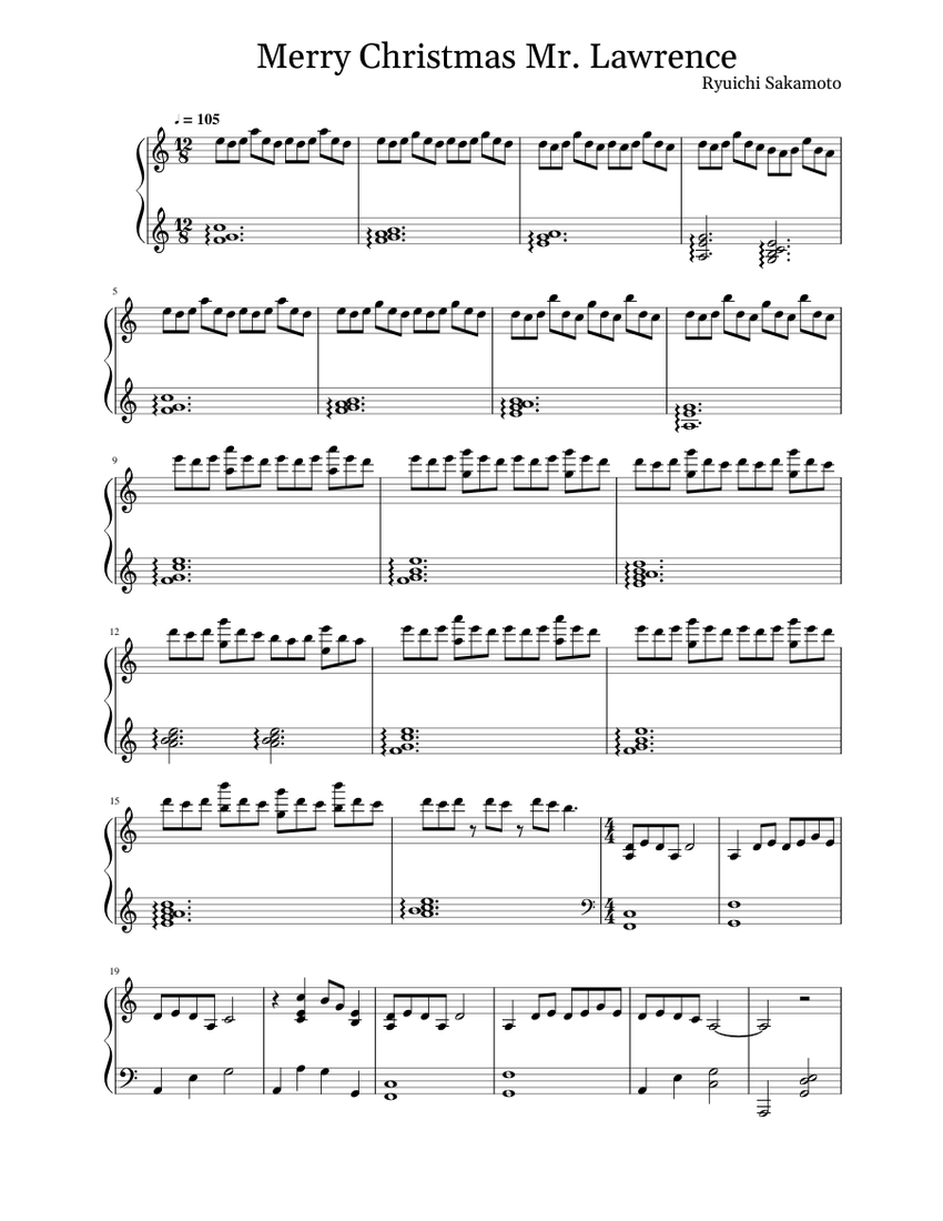 Merry Christmas Mr. Lawrence by Ryuichi Sakamoto Sheet music for Piano (Solo) | Musescore.com