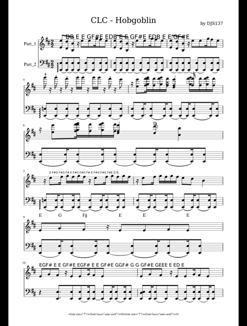 CLC Hobgoblin sheets by DJS137 sheet music for Voice