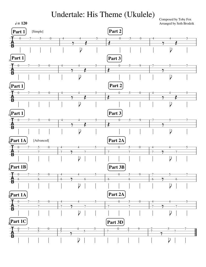 Undertale: His Theme (Ukulele) sheet music for Guitar