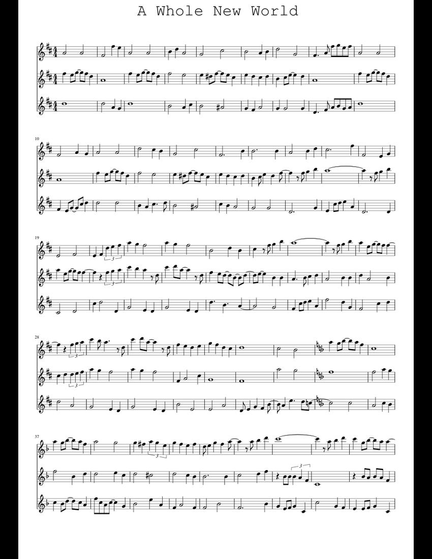 A Whole New World - Aladdin - Free Piano Sheet Music