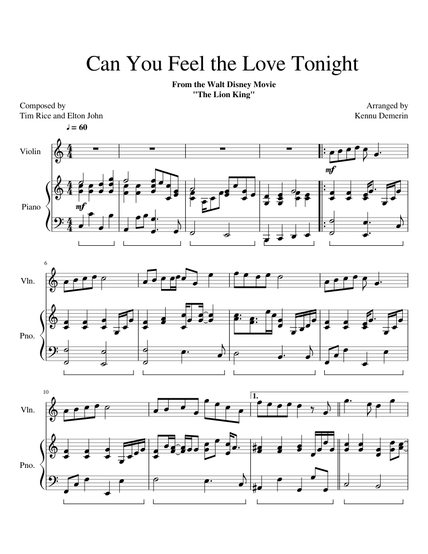 Can You Feel the Love Tonight C to D major (Piano and Violin) sheet music for Violin, Piano ...