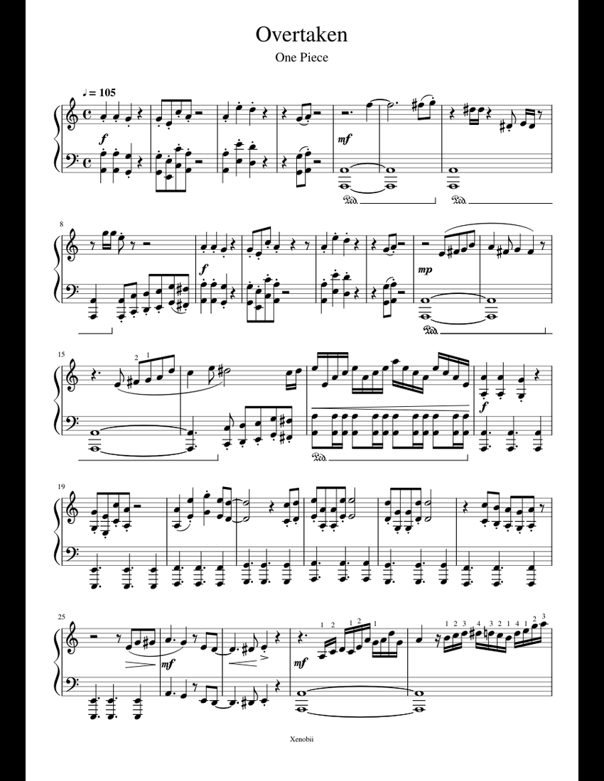 One Piece - Overtaken sheet music for Piano download free ...