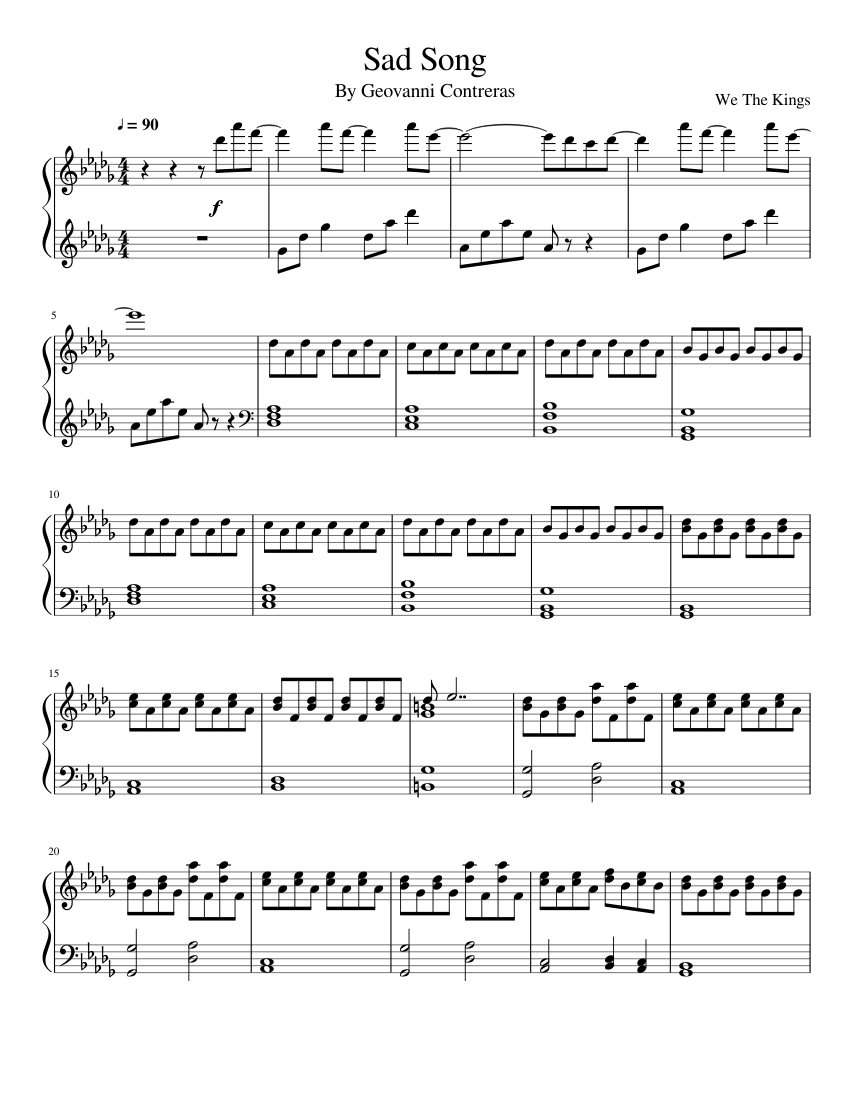Sad Song (We the Kings) sheet music for Piano download free in PDF or MIDI