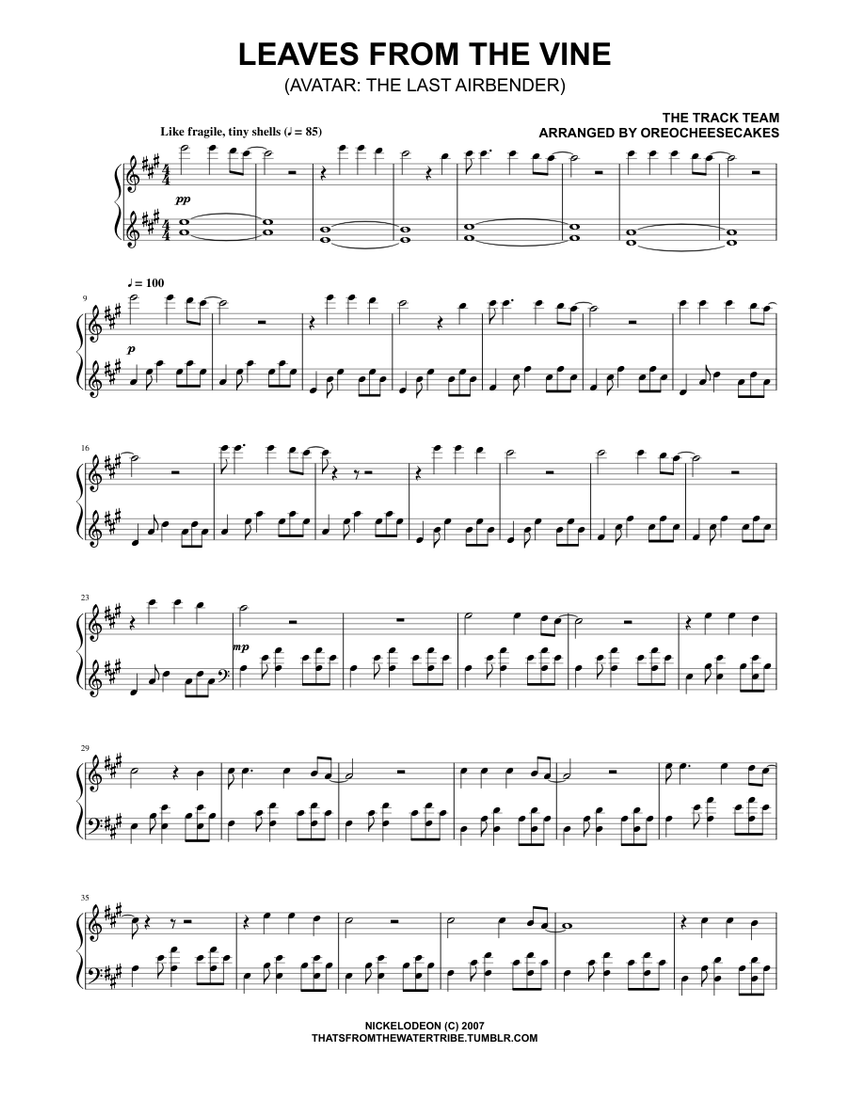 Leaves From The Vine Sheet Music Musescore Com