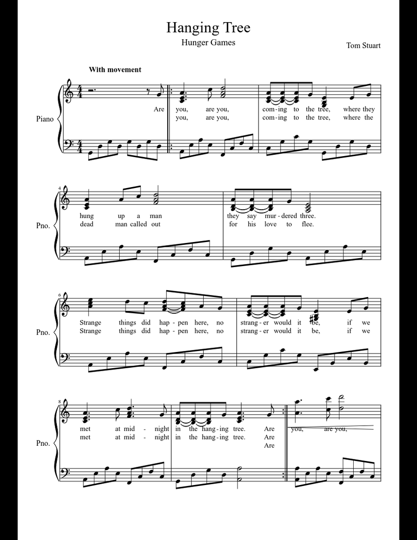 Hanging Tree sheet music for Piano download free in PDF or MIDI 6b8a25816d9f