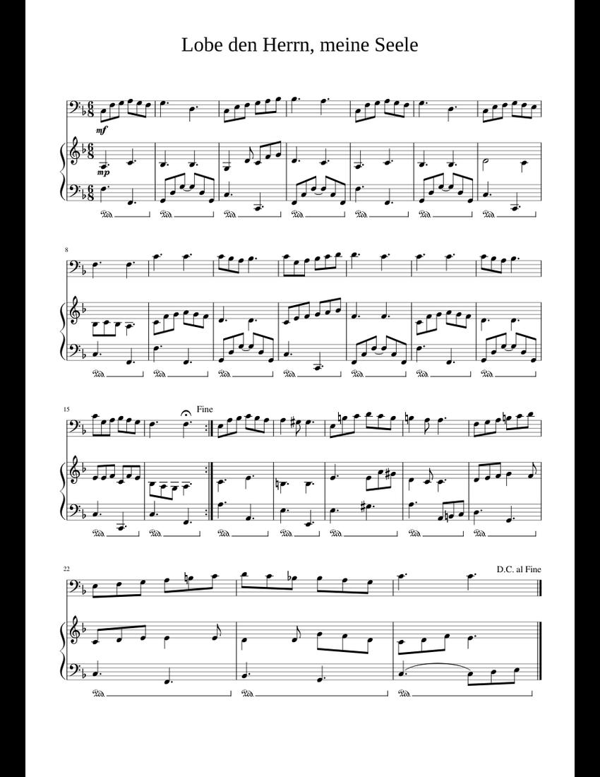 Lobe den Herrn, meine Seele sheet music for Piano, Cello