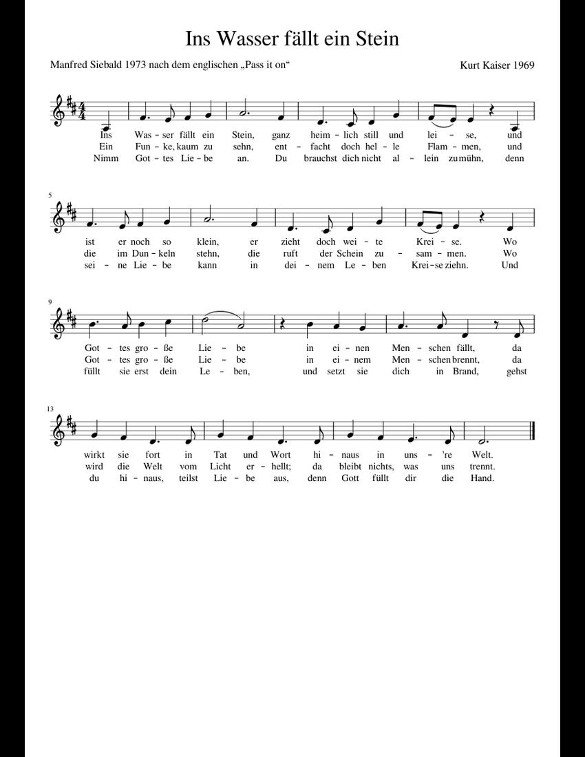 Ins Wasser fällt ein Stein sheet music download free in