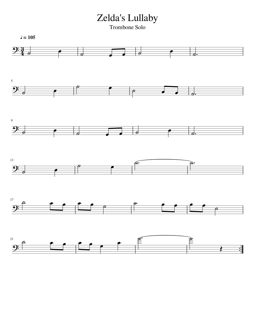 image about Free Printable Trombone Sheet Music referred to as Zeldas Lullaby - Trombone Solo sheet songs for Trombone