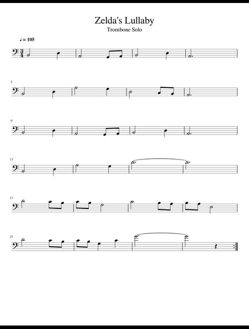 Zelda's Lullaby - Trombone Solo sheet music for Trombone