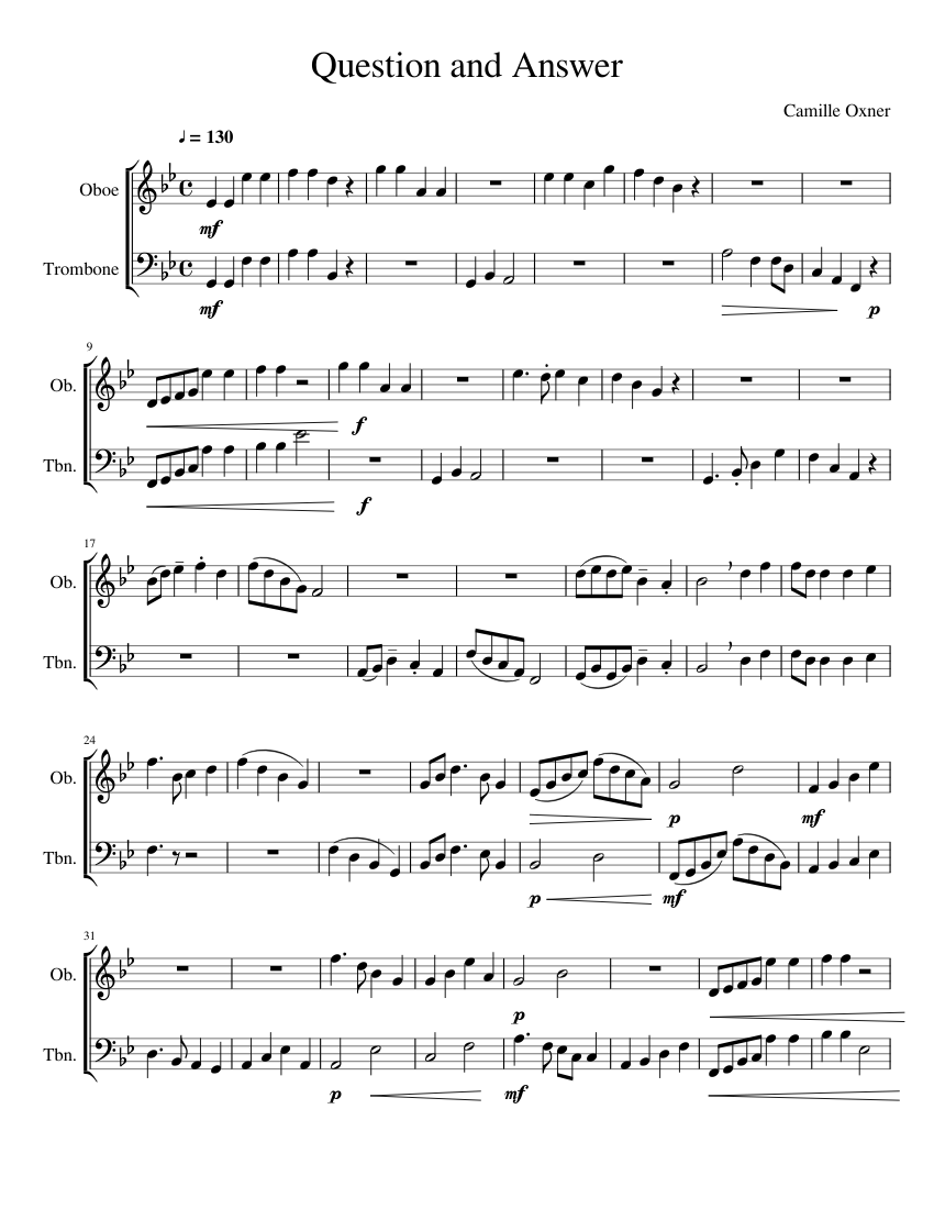 Question and Answer Sheet music for Trombone, Oboe (Mixed Duet) | Musescore.com