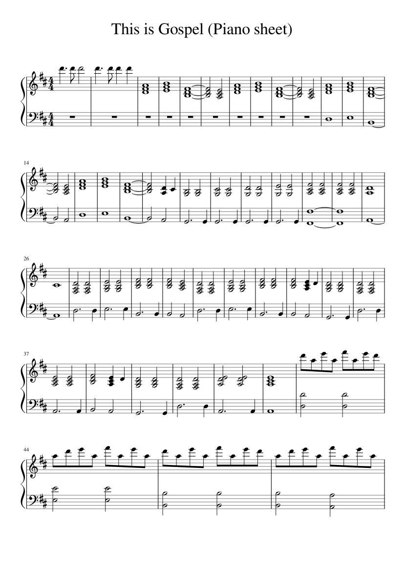 photo relating to Free Printable Gospel Sheet Music for Piano called This is Gospel (Piano sheet) sheet new music for Piano down load