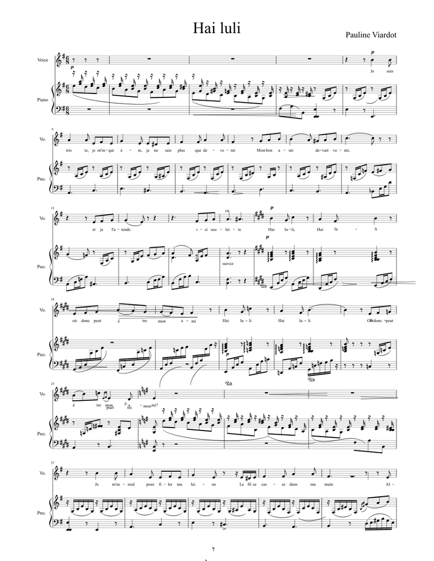 Hai Luli Sheet Music For Piano Voice Other Piano Voice Musescore Com