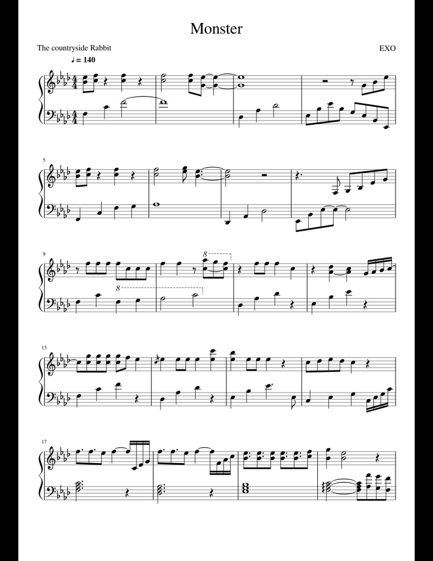 EXO - Monster sheet music for Piano download free in PDF or MIDI