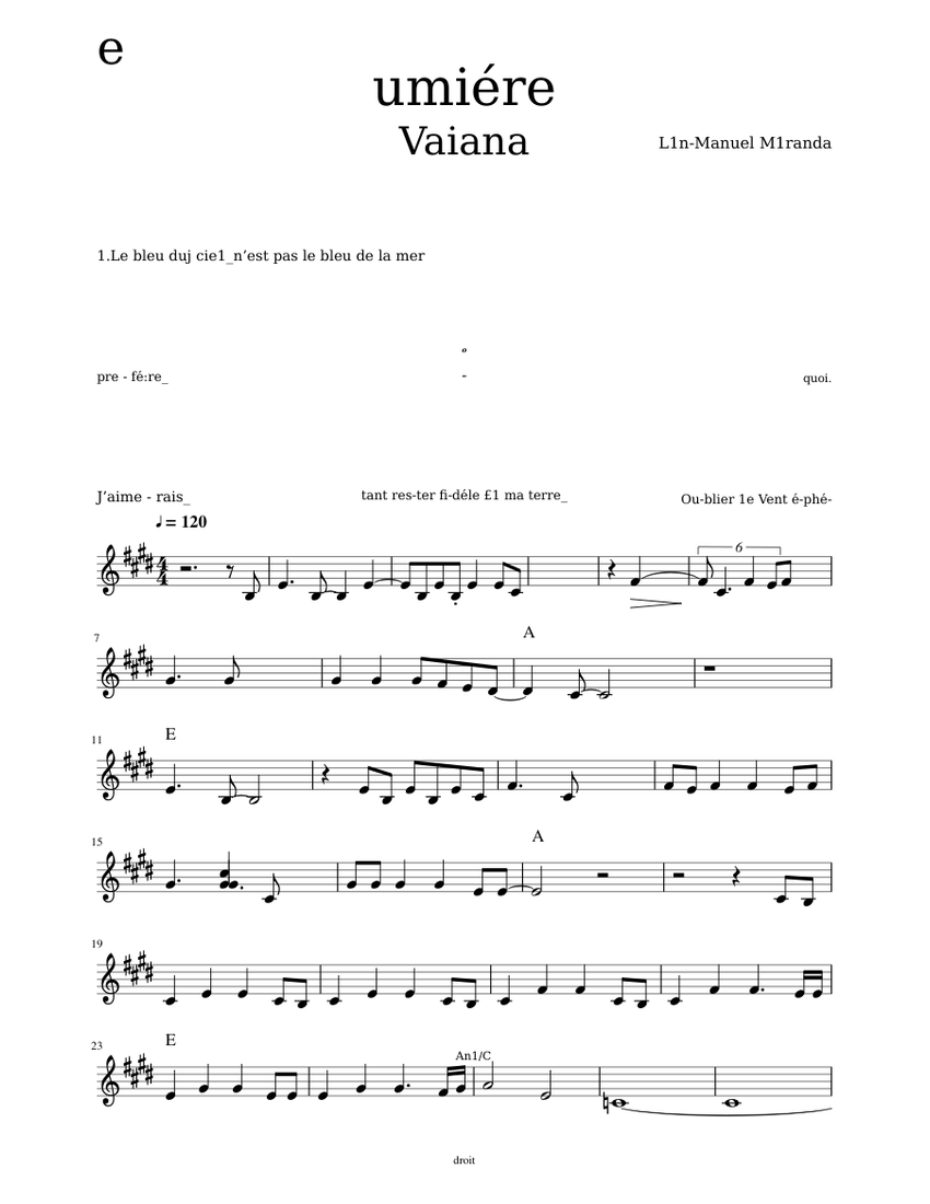 vaiana le bleu lumiere sheet music for voice | download