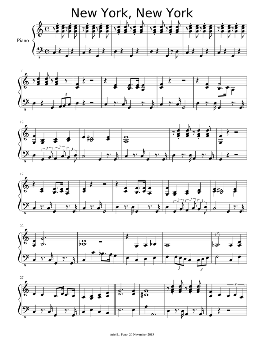 new york new york sheet music for piano  download free