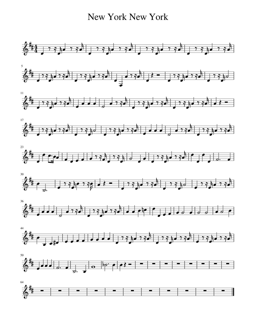 new york new york sheet music for piano  download free in