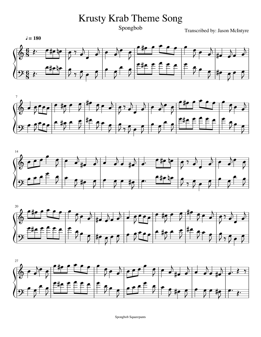 Krusty Krab Theme Music sheet music for Accordion download free in