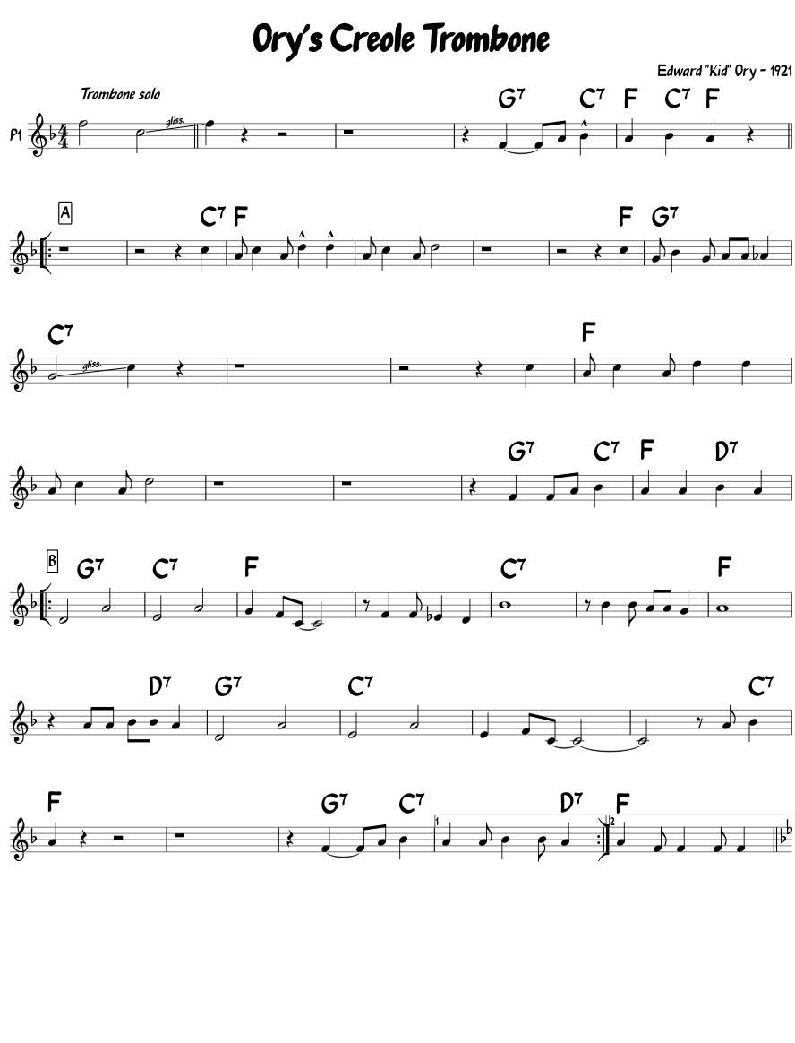 Orys Creole Trombone - B-flat Lead Sheet