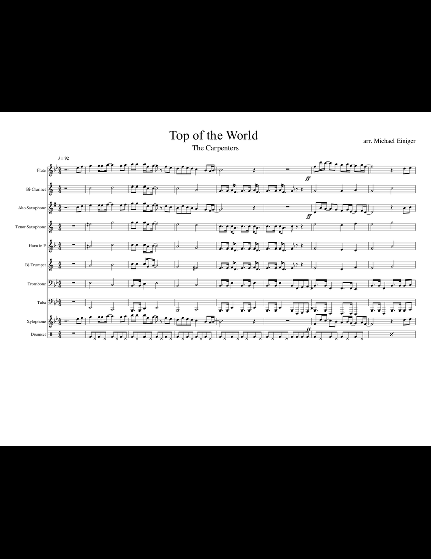 Top of the World by The Carpenters for Band sheet music