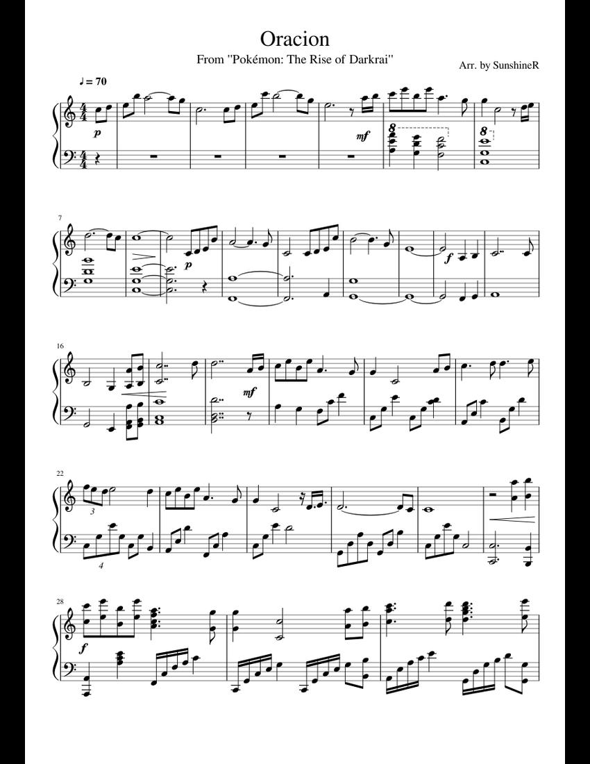 Oracion (Pokémon: The Rise of Darkrai) sheet music for Piano