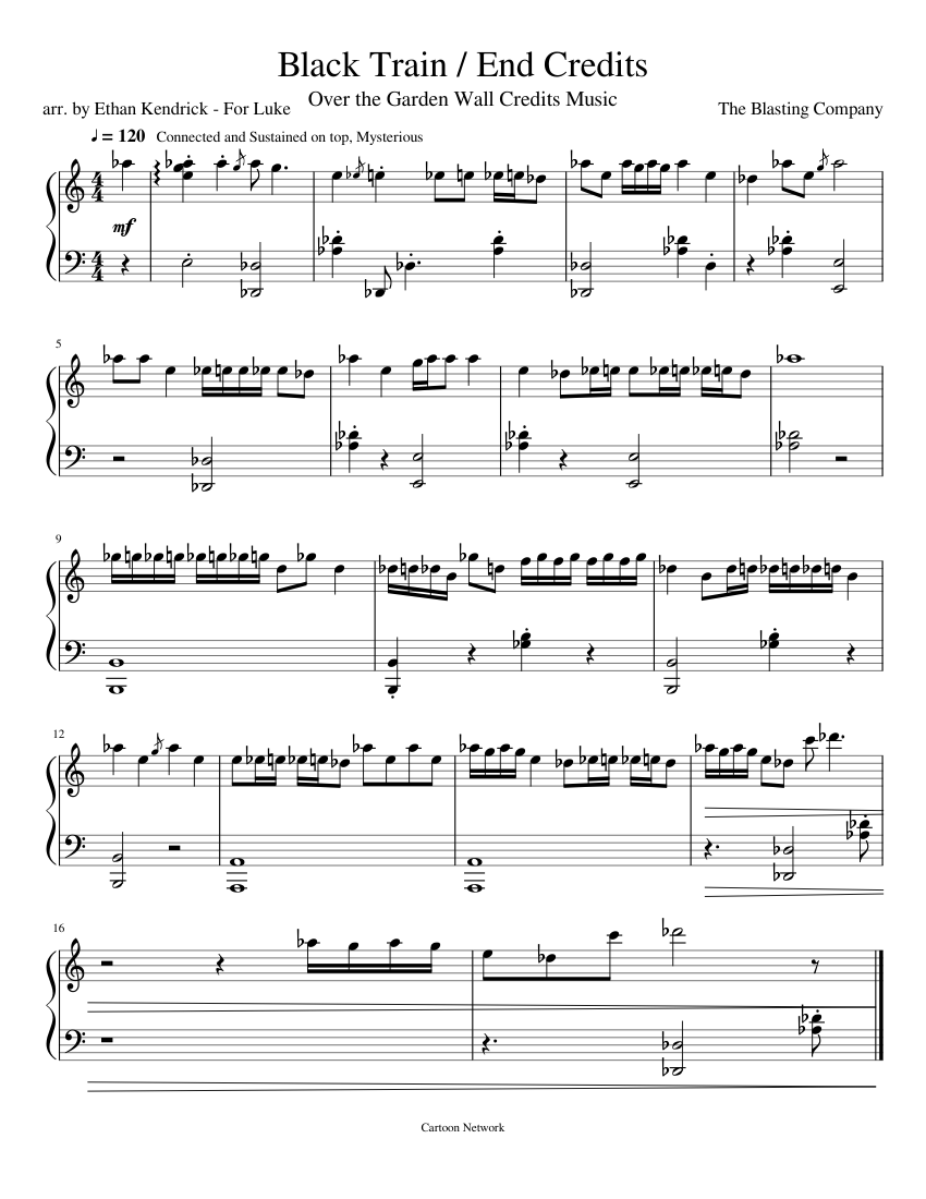 Black Train End Credits Sheet Music For Piano Download Free In Pdf