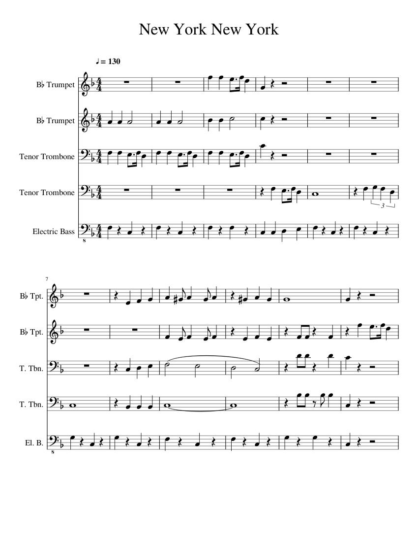 new york new york sheet music for trumpet trombone bass