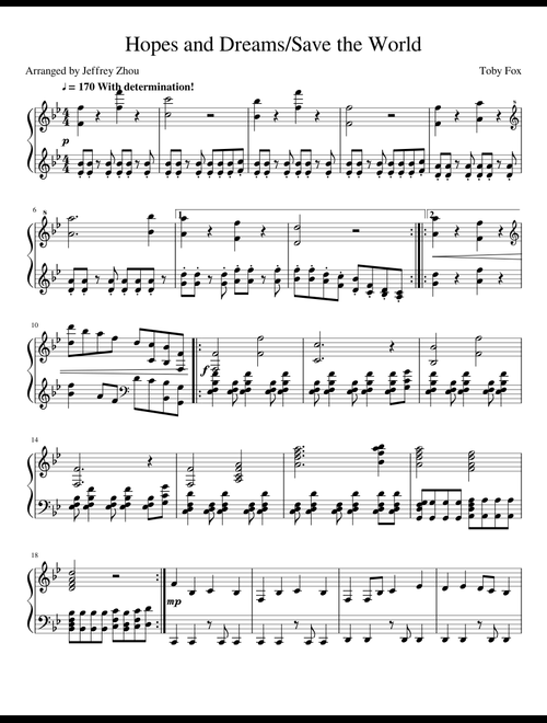 Undertale OST - Hopes and Dreams/Save the World sheet music