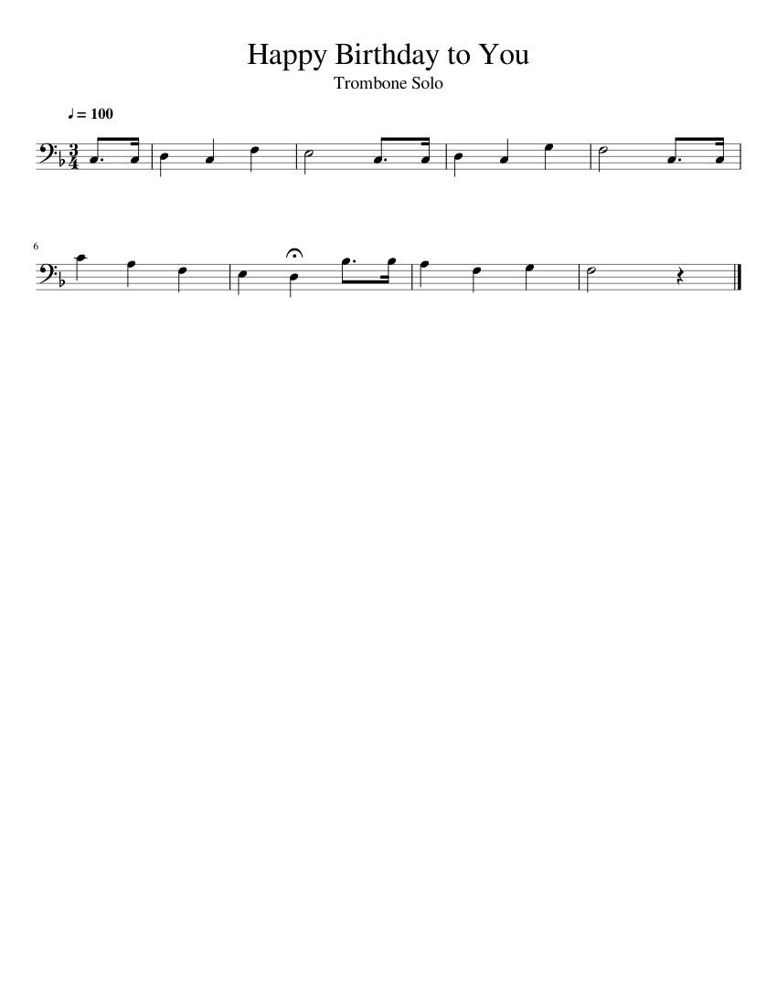 picture regarding Free Printable Trombone Sheet Music identify Pleased Birthday in the direction of Yourself - Trombone Solo sheet songs for