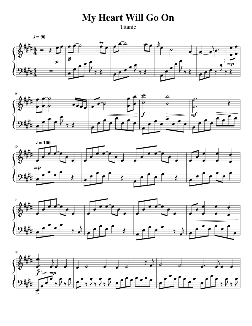 graphic about My Heart Will Go on Piano Sheet Music Free Printable known as My Centre Will Move Upon sheet audio for Piano down load no cost within