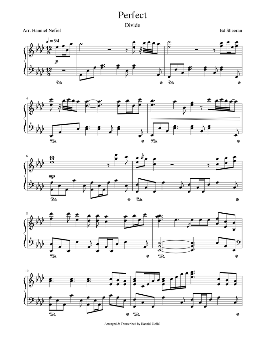 free piano sheet perfect ed sheeran