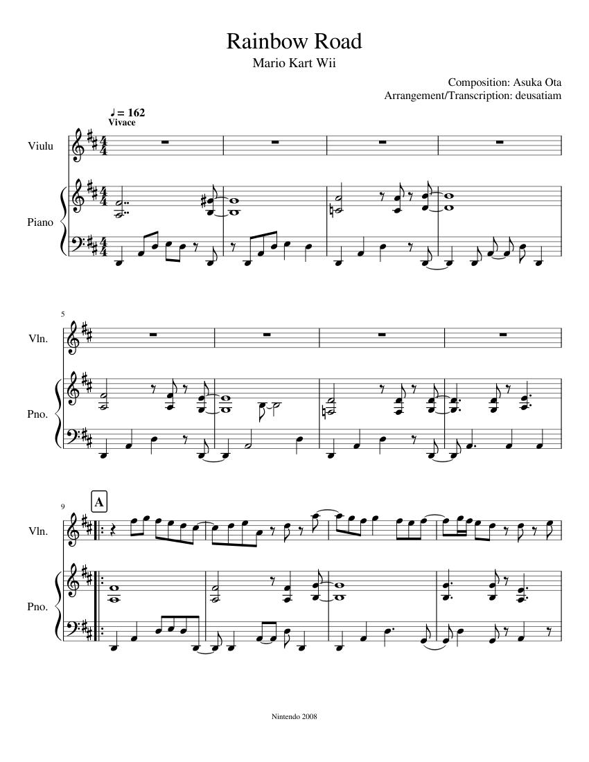 Synthesia mk7 rainbow road piano tutorial (mk8/64 style) in e.