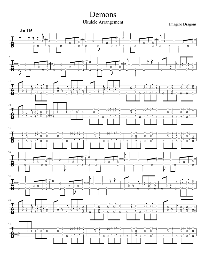 Demons - Imagine Dragons - Ukulele Arrangement sheet music