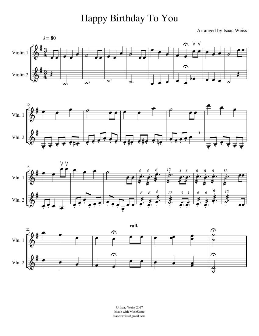 Happy Birthday Violin Duet sheet music for Violin download