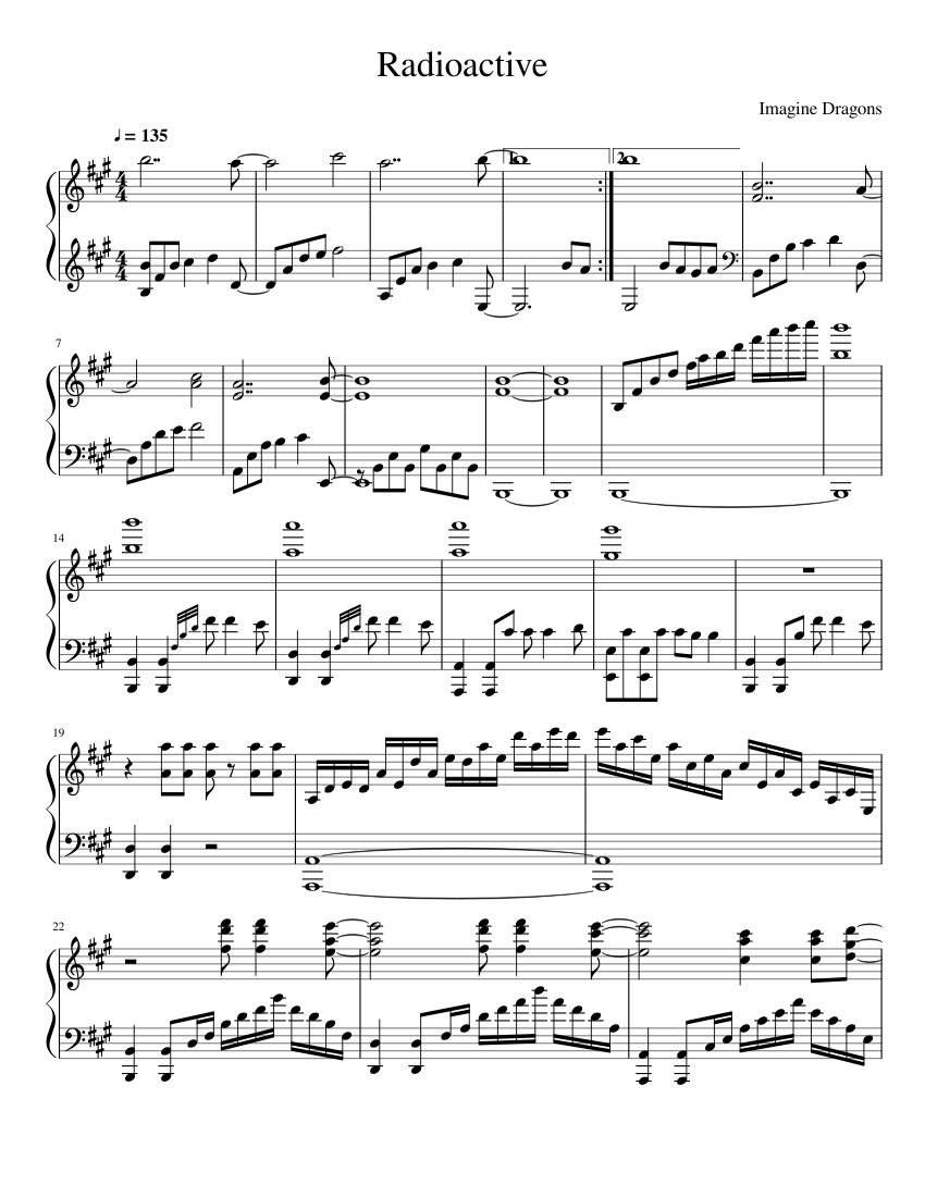 Radioactive Sheet music for Piano | Download free in PDF ...