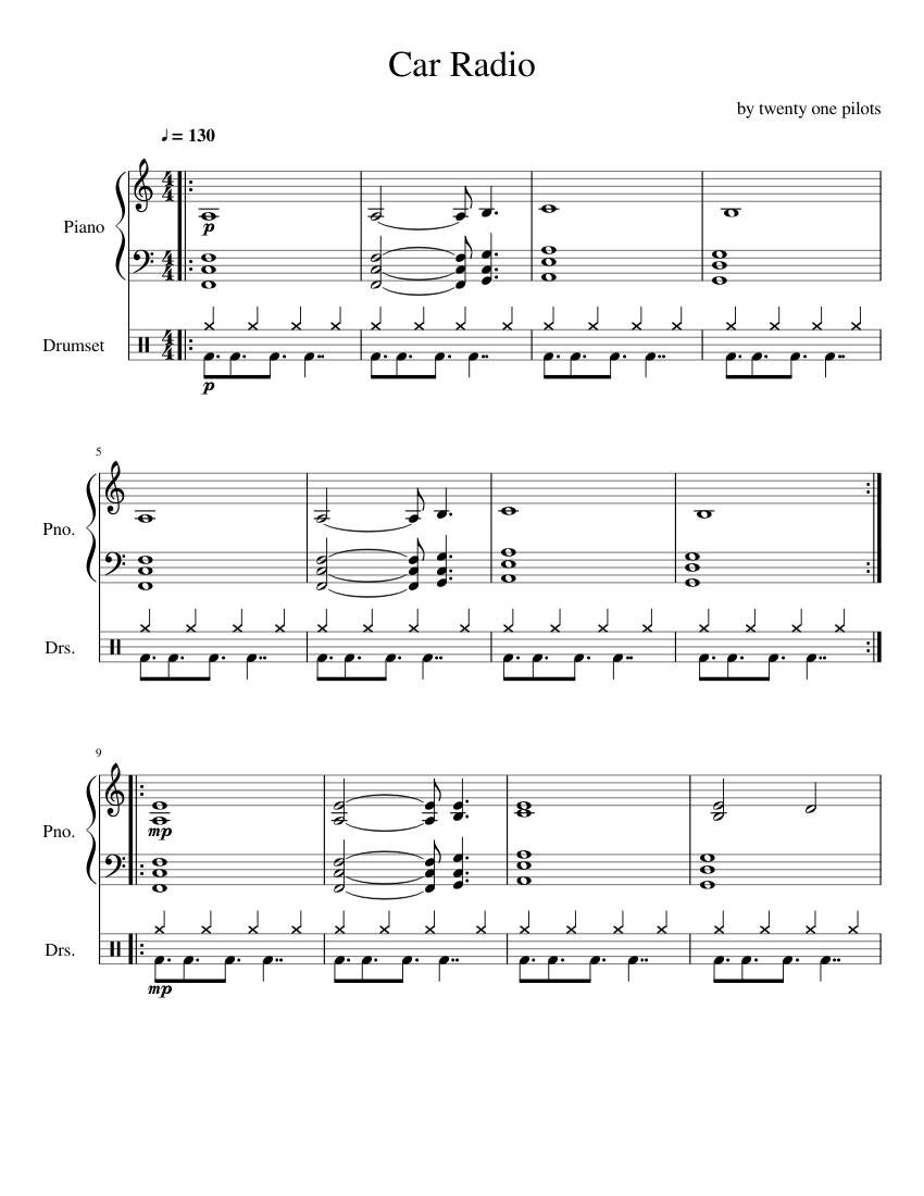 photo relating to Free Printable Drum Sheet Music referred to as Auto Radio Piano and Drum Sheet Songs sheet tunes for Piano