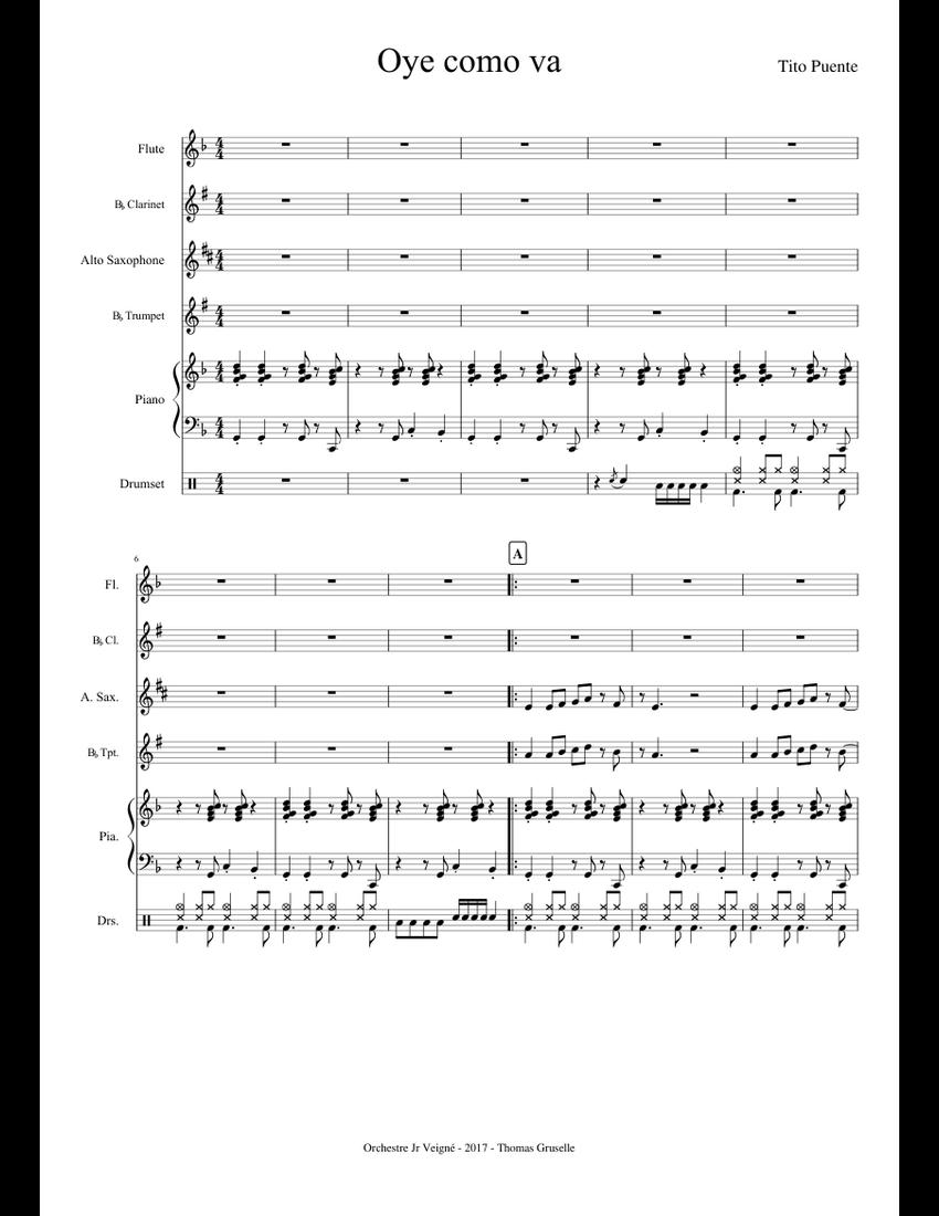 Oye como va sheet music for Flute, Clarinet, Piano, Alto