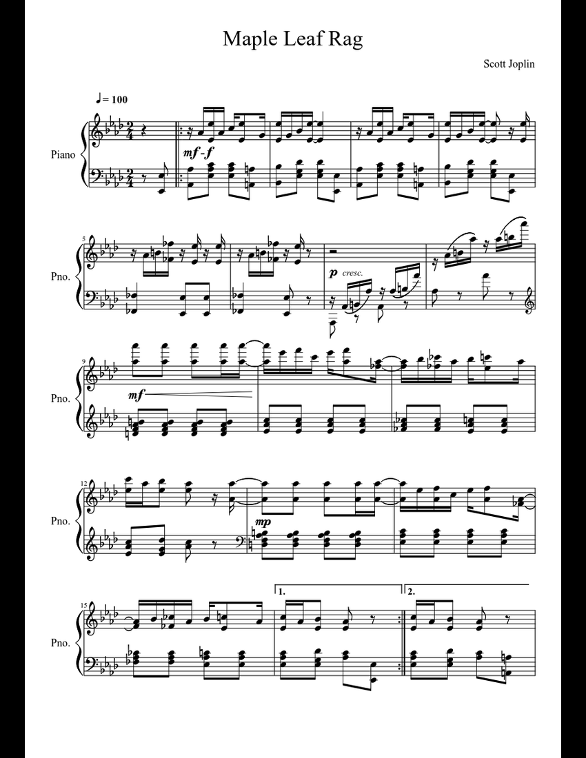 Maple Leaf Rag sheet music for Piano download free in PDF ...