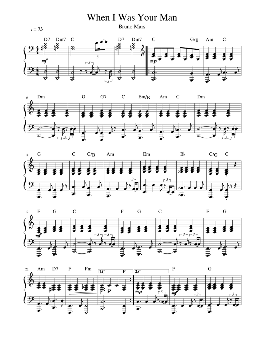 When I Was Your Man Bruno Mars Sheet Music For Piano Solo Musescore Com