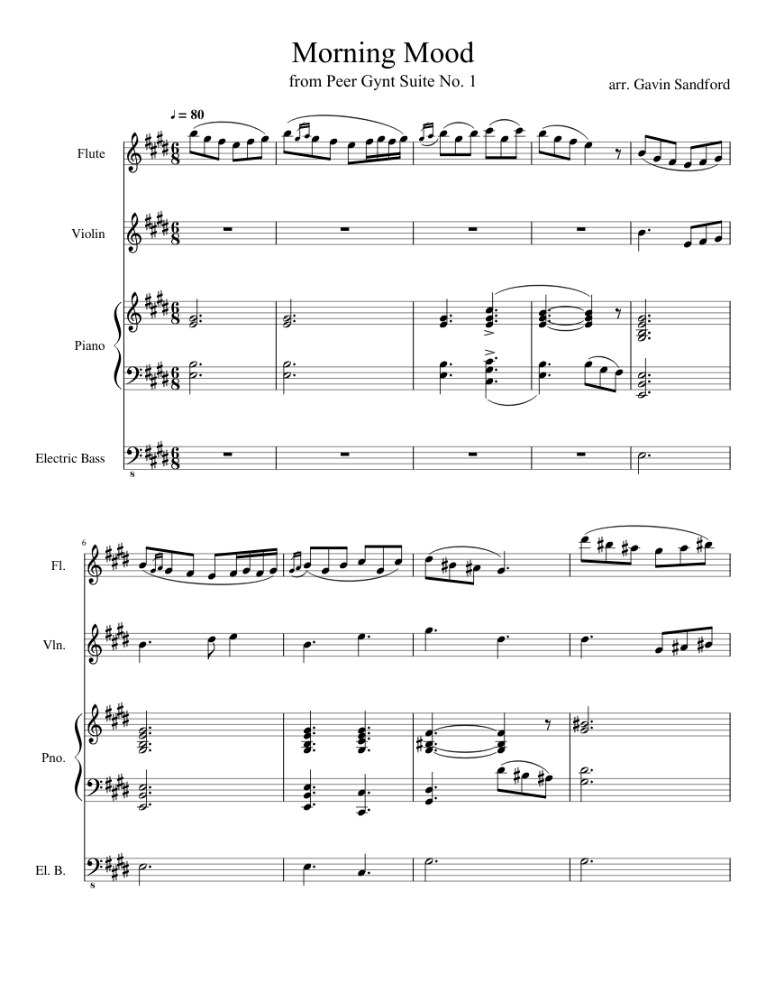 Morning Mood sheet music for Flute, Violin, Piano, Bass download free in PDF or MIDI