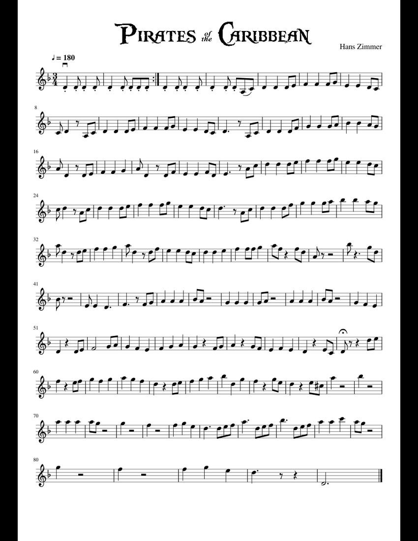 He's a pirate sheet music for Violin download free in PDF or MIDI