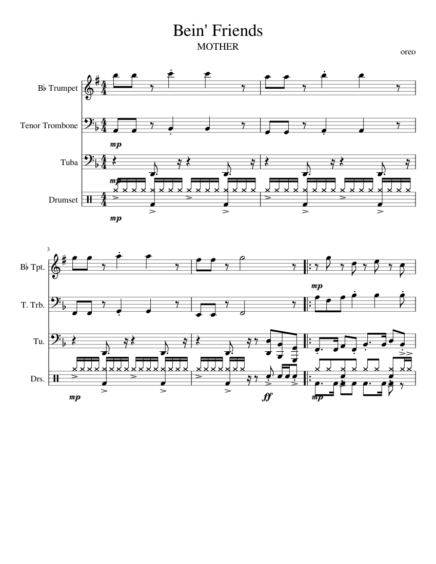 Bein' Friends sheet music for Trumpet, Trombone, Tuba