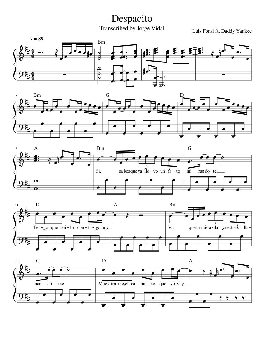 Despacito Piano Sheet Music Luis Fonsi Ft Daddy Yankee Sheet