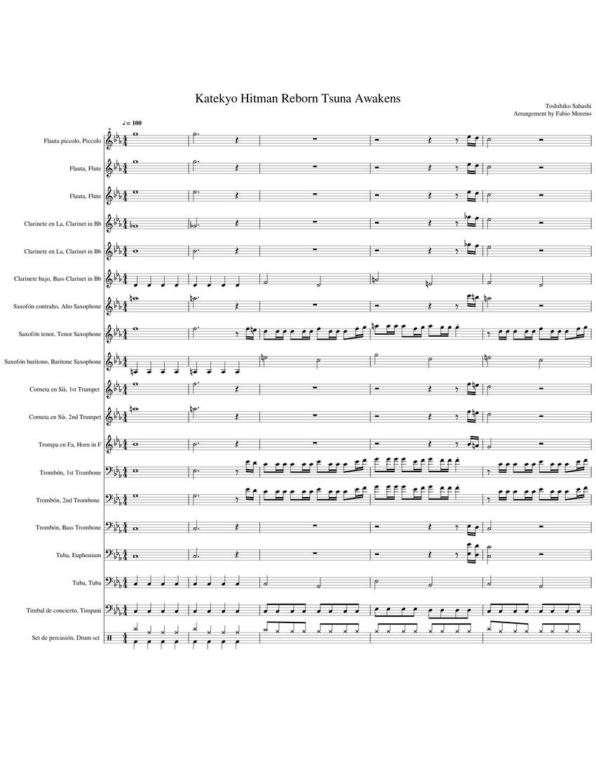 Katekyo Hitman Reborn Tsuna Awakens Sheet Music For Flute Clarinet Piccolo Alto Saxophone Download Free In Pdf Or Midi Musescore Com