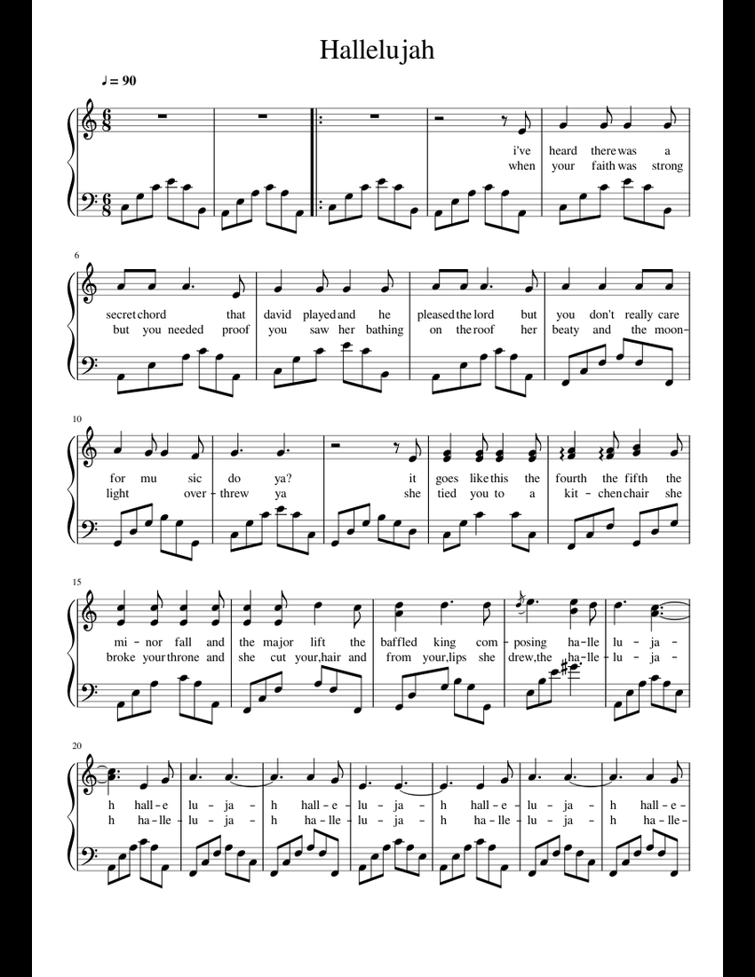 Hallelujah sheet music for Piano download free in PDF or MIDI