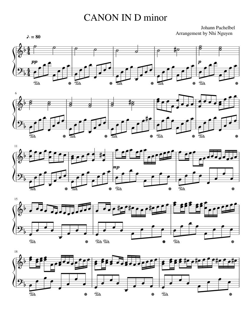 canon in d piano score full