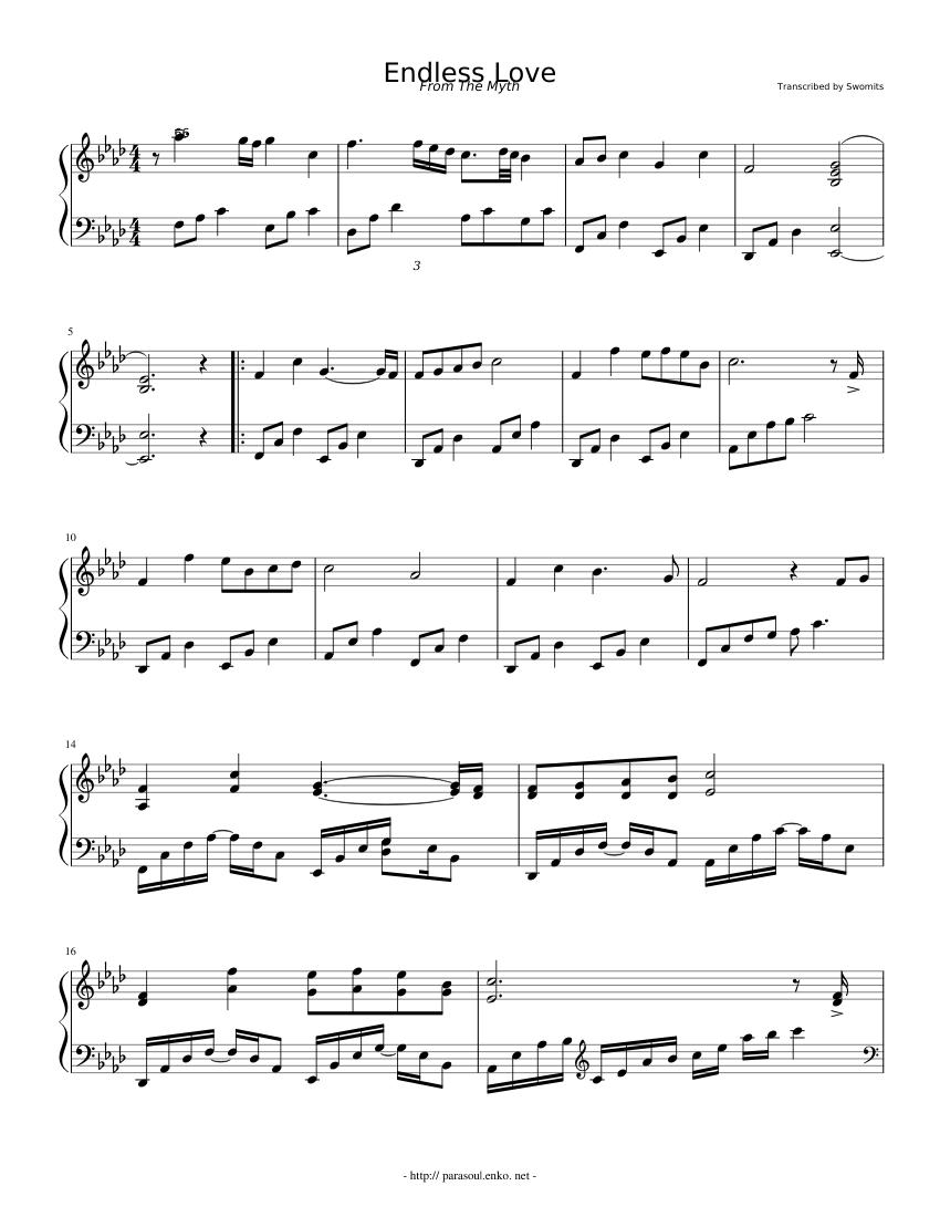 The myth endless love piano sheet music easy