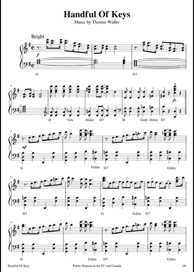 Fats Waller sheet music free download in PDF or MIDI on ... Fats Waller Music