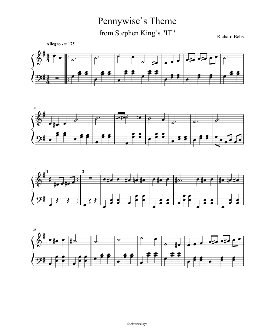 Pennywise`s Theme sheet music for Piano download free in PDF or MIDI