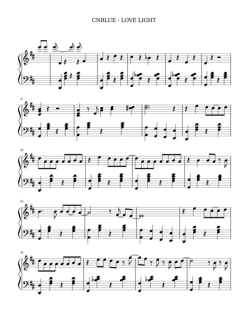 Cnblue love light sheet music for piano download free in pdf or midi.