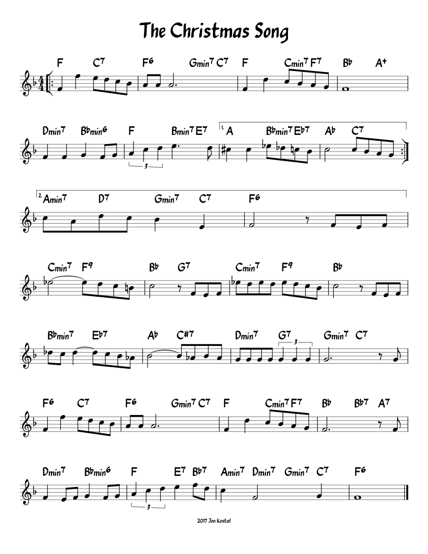 The Christmas Song Sheet music for Piano | Download free in PDF or MIDI | Musescore.com